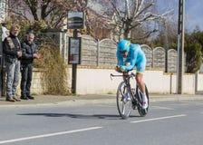 The Cyclist Dmitriy Gruzdev - Paris-Nice 2016 Stock Photo