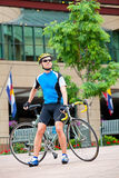 Cyclist in downtown Stock Photography