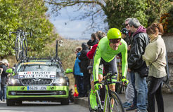 The Cyclist Dylan van Baarle - Paris-Nice 2016. Conflans-Sainte-Honorine,France-March 6,2016: The Dutch cyclist Dylan van Baarle of Cannondale Team riding during Royalty Free Stock Photo