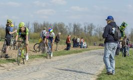 The Cyclist Dylan van Baarle - Paris Roubaix 2015 Royalty Free Stock Images
