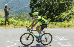 The Cyclist Dylan van Baarle - Tour de France 2015. Col D'Aspin,France- July 15,2015: The Dutch cyclist Dylan van Baarle of Cannondale-Garmin Team, climbing the Stock Images