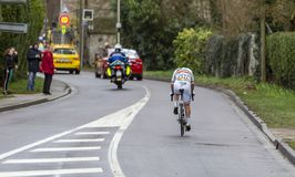 The Cyclist Eduard Grosu - Paris-Nice 2019 stock photography