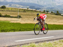 The Cyclist Egoitz Garcia Echeguibel. Chorges, France- July 17, 2013: The Spanish cyclist Egoitz Garcia from  Cofidis Team pedaling during the stage 17 of 100th Stock Image