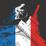 Cyclist and Eiffel tower silhouette Royalty Free Stock Photos