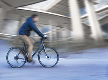 Cyclist with elevated roads Stock Photography