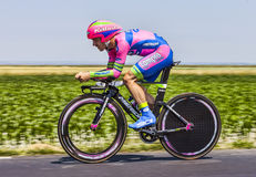 The Cyclist Elia Favilli. Ardevon,France-July 10, 2013: The Italian cyclist Elia Favilli from Lampre-Merida Team cycling during the stage 11 of the edition 100 Royalty Free Stock Photo