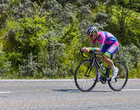 The Cyclist Elia Favilli. Chorges, France- July 17, 2013: The Italian cyclist Elia Favilli from Lampre-Merida Team pedaling during the stage 17 of 100th edition Royalty Free Stock Photos