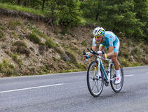 The Cyclist Enrico Gasparotto. Chorges, France- July 17, 2013: The Italian cyclist Enrico Gasparotto from Team Astana pedaling during the stage 17 of 100th Royalty Free Stock Photo
