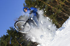 Cyclist extreme jumping Stock Photography