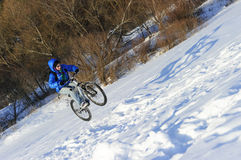 Cyclist extreme jumping royalty free stock image