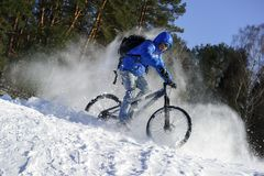 Cyclist extreme riding mountain bicycle stock images