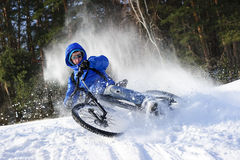 Cyclist extreme riding Stock Images