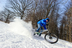 Cyclist extreme snow stock photography