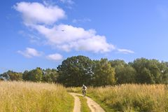 Cyclist in a field. Path in  field leading to  woods. Cyclist and plane Royalty Free Stock Image