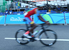 Cyclist after finish Rio 2016 Olympic Cycling Road competition of the Rio 2016 Olympic Games in Rio de Janeiro Royalty Free Stock Photography