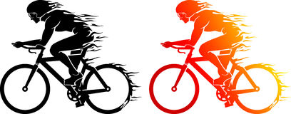 Cyclist Flame Trail Silhouette Royalty Free Stock Photo