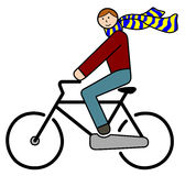 Cyclist with flying scarf. Illustration of funny cyclist with flying scarf - road sign reinterpretation Stock Photos