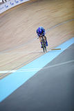 Cyclist from France rides on track Royalty Free Stock Image