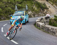The Cyclist Francesco Gavazzi. Chorges, France- July 17, 2013: The Italian cyclist Francesco Gavazzi from Team Astana pedaling during the stage 17 of 100th Stock Image