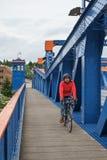 Cyclist on Fremont Bridge Stock Photo