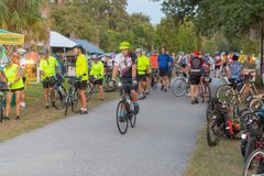 Cyclist gather on the Withlacoochee State Trail in Florida. stock photo