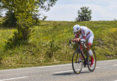 The Cyclist Gatis Smukulis. Chorges, France- July 17, 2013: The Latvian cyclist Gatis Smukulis from Katusha Team pedaling during the stage 17 of 100th edition of Royalty Free Stock Photography