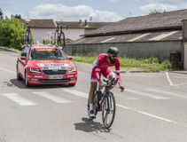 The Cyclist Geoffrey Soupe - Criterium du Dauphine 2017. Bourgoin-Jallieu, France - 07, June, 2017: The French cyclist Geoffrey Soupe of Cofidis Team riding Stock Photo