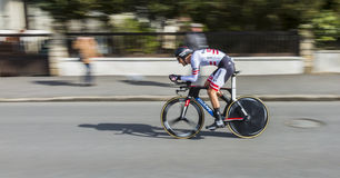 The Cyclist Georg Preidler - Paris-Nice 2016. Conflans-Sainte-Honorine,France-March 6,2016: Panning image of the Austrian cyclist Georg Preidler of Giant-Alpecin Royalty Free Stock Images