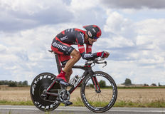 The Cyclist George Hincapie. Beaurouvre,France,July 21st 2012:The American cyclist George Hincapie from BMC Team pedaling during the 19th stage of Le Tour de Stock Image