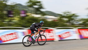The Cyclist Geraint Howell Thomas. Chorges, France- July 17, 2013: Panning image of the Welsh cyclist Geraint Howell Thomas from Team Sky pedaling during the Stock Photos