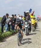 The cyclist Geraint Thomas - Paris Roubaix 2014. Carrefour de l'Arbre,France-April 13,2014: The cyclist Geraint Thomas- Team Sky, riding on the famous Royalty Free Stock Photos