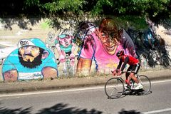Cyclist. And graffiti royalty free stock photos