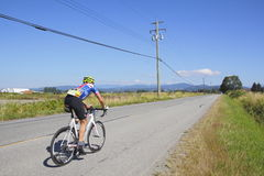 Cyclist in the GranFondo Fraser Valley Cycling Competition Stock Image