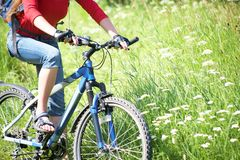 Cyclist on grass Royalty Free Stock Image