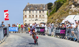 The Cyclist Gregory Henderson. Le Mont Saint Michel,France-July 10, 2013: The cyclist Gregory Henderson from Lotto-Belisol Team cycling during the stage 11 of Royalty Free Stock Image