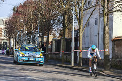The Cyclist Grivko Andriy- Paris Nice 2013 Prologue in Houilles Royalty Free Stock Photography