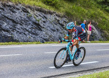 The Cyclist Haimar Zubeldia. Chorges, France- July 17, 2013: The Basque cyclist Haimar Zubeldia from RadioShack-Leopard Team pedaling during the stage 17 of Royalty Free Stock Image