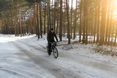 Cyclist without a helmet rides on snow-covered forest road on Bicycle on Sunny spring day stock image