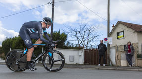 The Cyclist Ian Stannard - Paris-Nice 2016. Conflans-Sainte-Honorine,France-March 6,2016: The English cyclist Ian Stannard of Team Sky riding during the prologue Royalty Free Stock Image