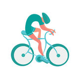 Cyclist icon. Bicycling vector illustration, isolated on white. Royalty Free Stock Image
