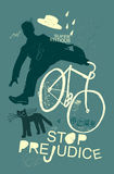 Cyclist. Image of a cyclist who was scared of a black cat Royalty Free Stock Photo