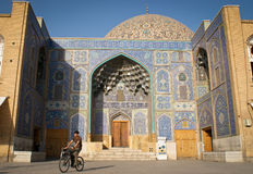 Cyclist on the Imam Square in Isfahan Stock Image