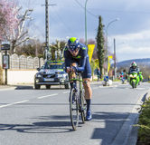 The Cyclist Imanol Erviti Ollo - Paris-Nice 2016. Conflans-Sainte-Honorine,France-March 6,2016: The Spanish cyclist Imanol Erviti Ollo of Movistar Team riding Stock Photos