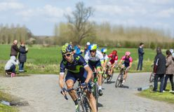 The Cyclist Imanol Erviti - Paris Roubaix 2016 stock images