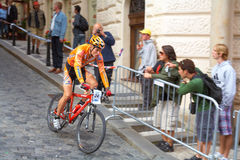Cyclist. International cycling race in the streets of old Prague. - Prague Stairs. One of the most important sports events of Prague. Hradcany Square, Mala stock image