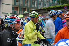 Cyclist Ivan Basso. Ivan Basso, twice winner, at starting footbridge of cycling race Giro d'Italia. 14 stage, city of  Busto Arsizio Royalty Free Stock Images