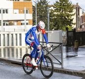 The Cyclist Jacopo Guarnieri - Paris-Nice 2018 royalty free stock photography