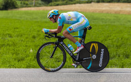 The Cyclist Jakob Fuglsang. Chorges, France- July 17, 2013: The Danish cyclist Jakob Fuglsang from Team Astana pedaling during the stage 17 of 100th edition of Stock Photo