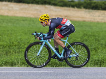 The Cyclist Jan Bakelants. Chorges, France- July 17, 2013: The Belgian cyclist Jan Bakelants from RadioShack-Leopard Team pedaling during the stage 17 of 100th Royalty Free Stock Photography