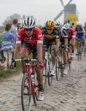 The Cyclist Jasper Stuyven - Paris-Roubaix 2018. Templeuve, France - April 08, 2018: The Belgian cyclist Jasper Stuyven of Trek-Segafredo Team riding on the Royalty Free Stock Photos